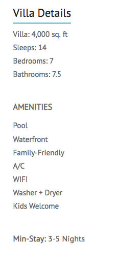 Monte Bay Villa amenities list